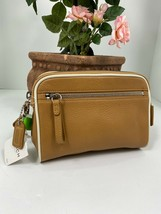 New Coach Legacy Vintage Cosmetic Bag Soft Glove Leather Zip Brown FS8658  M8 - $68.59