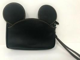 Disney X Coach Mickey Mouse Leather Ears Wristlet Black  - $88.11