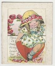 Vintage Valentine Card Girl in Bonnet Sits on Heart 1920's Die-Cut - $8.90