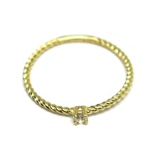 SOLID 18K YELLOW GOLD RING, MINI SOLITAIRE CUBIC ZIRCONIA WIRE ROUND BRAID TUBE image 2