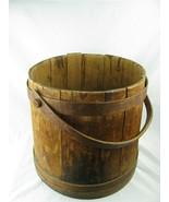 """Primitive Antique Wood Bucket Swing Peg Handle All Original Pail 13.50"""" ... - $97.02"""
