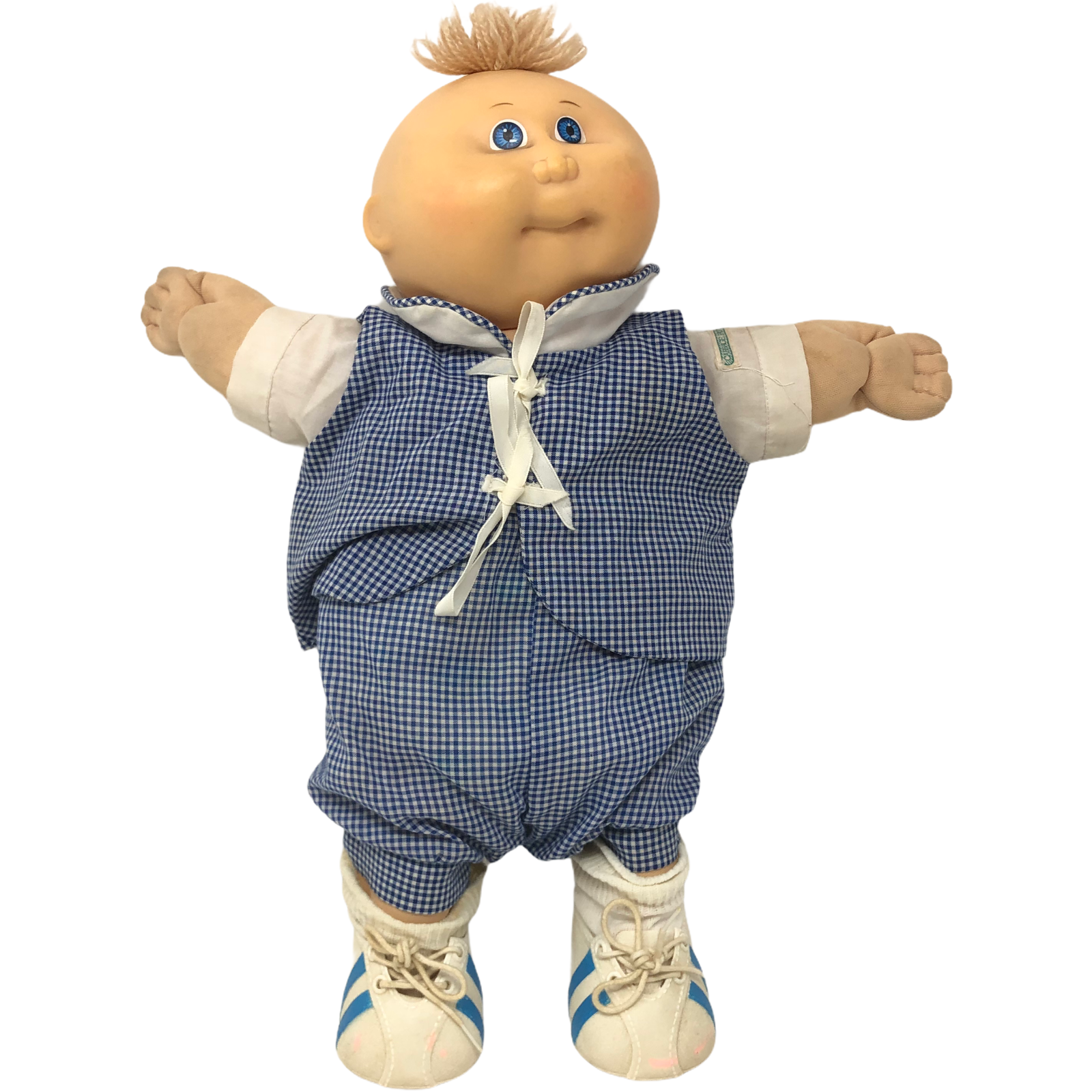 "Vintage 18"" Cabbage Patch Kids Baby Premiere Doll Shoes Blue Checkered Outfit - $98.99"
