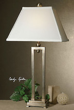 TIMELESS DESIGNER INSPIRED SILVER ANTIQUED STAIN TABLE LAMP WHITE BELL S... - $147.40
