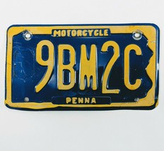 Pennsylvania Motorcycle License Plate Pre 2000 PA Yellow on BLue 9BM2C - $14.01