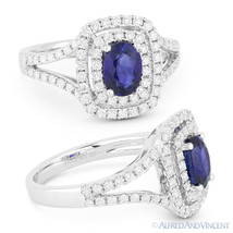 1.77 ct Oval Blue Sapphire & Diamond Pave Halo Engagement Ring in 18k Wh... - €2.498,32 EUR