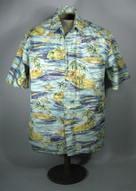 Campia Moda Hawaiian Shirt Size Medium Mens Short Sleeve Button Palm Tre... - $6.44
