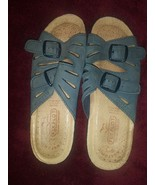 Fly Flot Italian Comfort  Blue Strappy Sandals Comfy Size 37 - $27.71