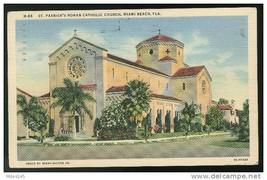 St Patrick's Roman Catholic Church Miami Beach Florida FL 1942 Postcard - $4.99