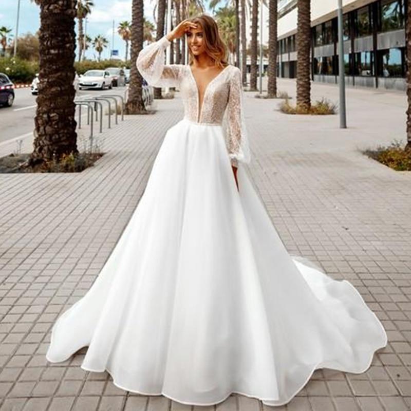Garden bohemian wedding dresses sexy v neck a line lace glitter beach bridal dress plus size