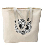 Sugar Skull Panda Mask New Large Canvas Tote Bag Travel Day of the Dead - $19.99