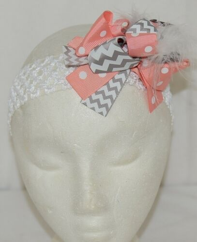 Unbranded Girl Infant Toddler Headband Removable Hair Bow Grey Peach