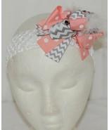Unbranded Girl Infant Toddler Headband Removable Hair Bow Grey Peach - $12.00