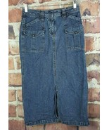 Christopher & Banks Denim Skirt Womens Size 4 Jean Midi Calf Slit  - $17.82