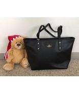NWT Coach Crossgrain Leather Zip Top City Tote Shoulder Bag in Black F58846 - $123.74