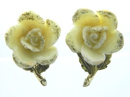 CORO Cream Rose Gold Glitter Gold Tone Porcelain Clip-On Earrings Vintage - $19.79