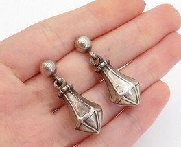 925 Sterling Silver - Vintage Dark Tone Hollow Linked Drop Earrings - E8817 - $31.84