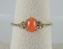 Vintage 14k Yellow Gold Filled Coral & Rhinestone Ring Oval sz 7 Cluster... - $39.55
