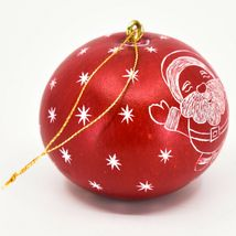 Handcrafted Carved Gourd Art Santa w Sleigh Mini Christmas Ornament Made in Peru image 4