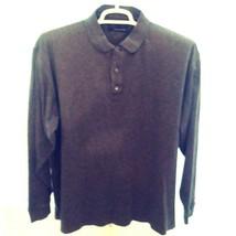 Greg Norman Shark Polo Sweater Ribbed Knit Long Sleeve Cotton Heather Vi... - $28.98