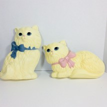 Vintage 2 HOMCO Home Interior White Persian Cat Kitten Wall Hanging Plaques - $15.99
