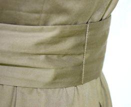 J.Crew Olive Ruffled Cotton Boat Neck Knee Length Shift Dress Sleeveless M image 11