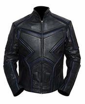 Mens X Logo Logan Black and Blue Padded Wolverine Costume Biker Leather Jacket image 1