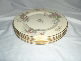 "5 Vintage 7.50"" Salad Plates Theodore Haviland China Apple Blossom New York - $84.15"