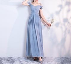 DUSTY BLUE Bridesmaid Dress 2019 Summer Chiffon Dusty Blue Bridesmaid Maxi Dress image 8