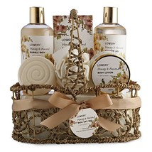 Home Spa Gift Basket - Honey & Almond Scent - Luxury Bath & Body Set For Women a