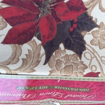 Christmas Placemats Printed Linen Poinsettias, 12 in x 18 inches. 100% P... - $15.50