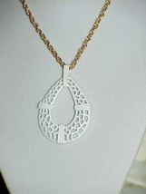 "1960's Trifari White Mod Filigree Pear Pendant Necklace 24"" Gold chain Mint #1 - $14.84"