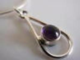 Purple Amethyst Sphere in Hoop 925 Silver Pendant Corona Sun Jewelry - $9.89