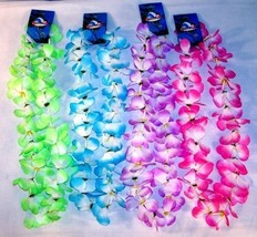 6 TWO TONE ASST COLOR HAWAIIAN FLOWER LEIS luau lei party hwaii lays new... - $6.64