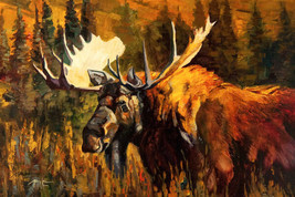 Moose by Terry Lee Bull Moose Antlers Wildlife Canvas Giclee L/E Print 2... - $395.01