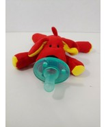 Red yellow puppy dog Wubbanub Plush Toy Pacifier bean pellets in feet - $6.92