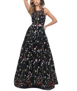 Women's Scoop Ball Gown Embroidery Evening Dresses Floral Print Long Pro... - $118.99