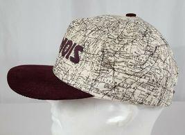 Vtg Illinois Map Snapback Hat Cap Corduroy Bill IL Roadmap Burgundy Made in USA image 5