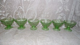 ANCHOR HOCKING GREEN DEPRESSION GLASS PARFAIT PUDDING CUPS SET OF 6 OPTI... - $29.65