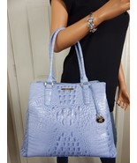 RARE BRAHMIN Joan Melbourne Periwinkle Blue Leather LRG Tote Purse Bag PRISTINE - $287.09