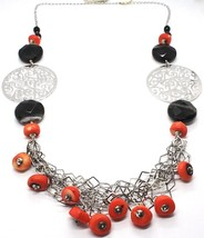 925 Silver Necklace, Agate Faceted Disc, Coral, Medallion, 80 cm image 2