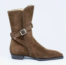 Handcrafted Superior Suede Monk Buckle Dark Brown Leather High Ankle Men... - $149.99+