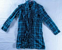 Childrens Place Girls Plaid Shirt Tunic Dress   Size 8  Long Sleeve Ruffles - $14.85