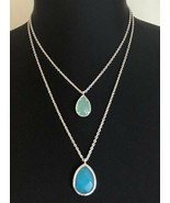 Chloe + Isabel Double Strand Silver Tone Blue Pendants Convertible Neckl... - $19.79