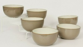 DANSK Bowls Set of 6 Taupe Round 5 Inch Salad Soup Individual Size - $63.94