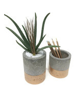 "Concrete Planters with Gold. Medium. (Set of 2) 4""&5"". - $32.27 CAD"