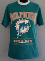 Vintage 90s Miami Dolphins T-shirt Turquoise Spell Out NFL Crewneck Tee ... - $29.99