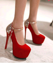 pp405 cute high-heeled strappy ankle pumps in spell color US Size 2-10, red - $52.80