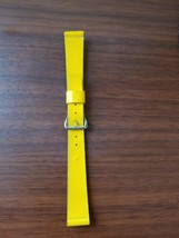 vintage 11MM mid century yellow leather watch strap silver buckle - $17.82