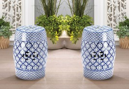 Ceramic Stool, Side Table, Plant Stand White w/ Blue Medallion Pattern Set of 2 - $174.95