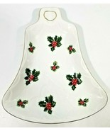 Vintage Lefton Green Holly Berry Christmas Bell Plate Dish 5191 8.5 inches - $13.86